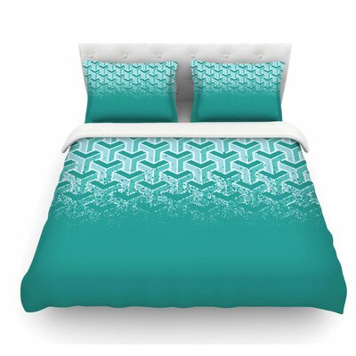 No Yard by Just L Featherweight Duvet Cover Size: King, Color: Teal/White