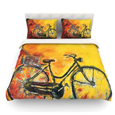 To Go by Josh Serafin Bicycle Featherweight Duvet Cover Size: Queen