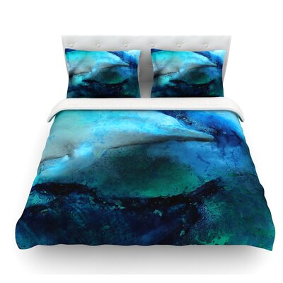 Dolphin by Josh Serafin Featherweight Duvet Cover Size: Queen