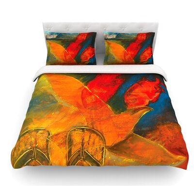 Whats Beneath My Feet by Josh Serafin Fish Seagull Featherweight Duvet Cover Size: Queen