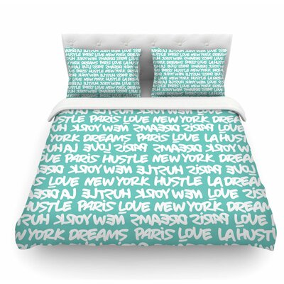 Lux Writing by Just L Featherweight Duvet Cover Size: King, Color: White/Teal