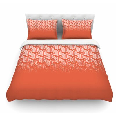 No Yard by Just L Featherweight Duvet Cover Size: King, Color: Coral