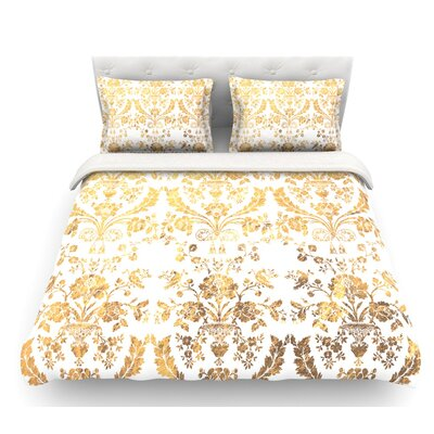 Baroque  Abstract Floral Featherweight Duvet Cover Color: Gold, Size: Queen