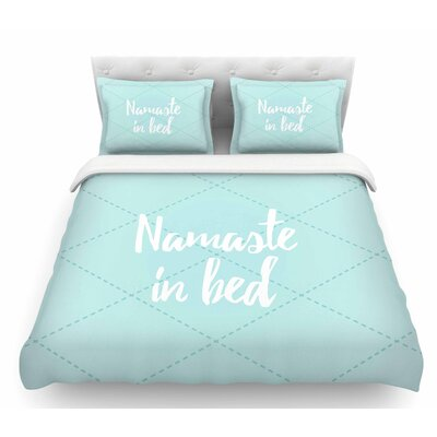 Namaste in Bed  Featherweight Duvet Cover Color: Teal/Blue/White, Size: King
