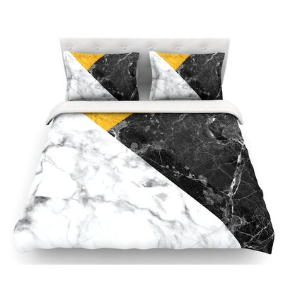 Geo Marble  Featherweight Duvet Cover Color: Gold, Size: King