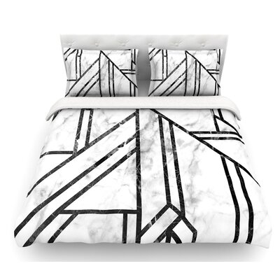 Marble Mosaic  Geometric Modern Featherweight Duvet Cover Size: Queen