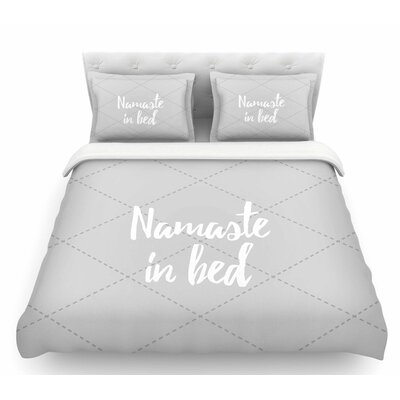 Namaste in Bed  Featherweight Duvet Cover Size: Twin, Color: White/Gray