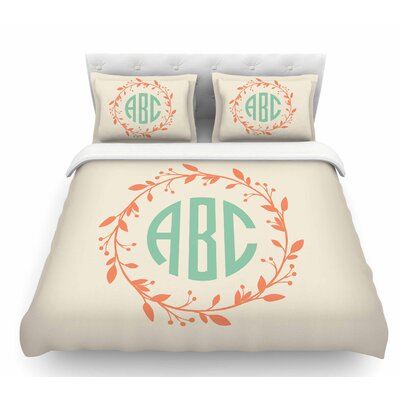 Classic Wreath Monogram  Featherweight Duvet Cover Color: Cream/Green, Size: King
