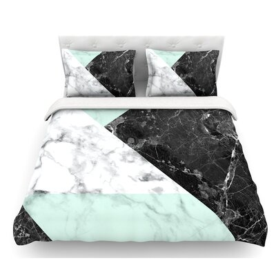 Geo Marble  Featherweight Duvet Cover Color: Mint/Black, Size: Queen