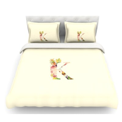Floral Monogram  Featherweight Duvet Cover Size: Twin