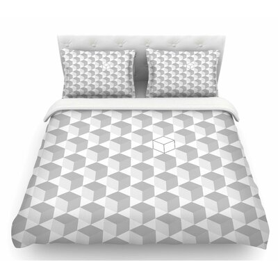 Grayscale Cubed  Geometric Featherweight Duvet Cover Size: King