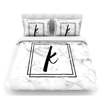 Marble Monogram  Featherweight Duvet Cover Size: Queen