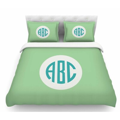 Classic Monogram  Featherweight Duvet Cover Size: Queen, Color: Green/Teal