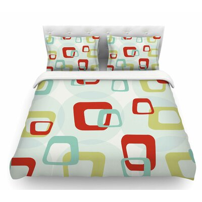 Retro Squares  Featherweight Duvet Cover Size: King
