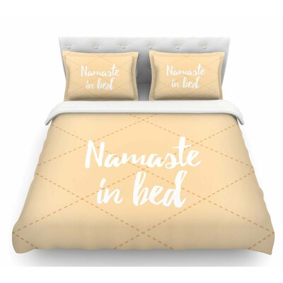 Namaste in Bed  Featherweight Duvet Cover Color: Tan/White/Yellow, Size: Queen