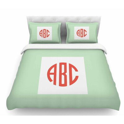 Classic Monogram  Featherweight Duvet Cover Size: Queen, Color: Green