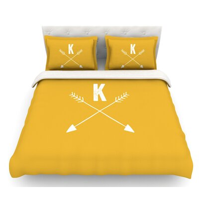 Arrow Monogram  Featherweight Duvet Cover Size: Twin, Color: Gold