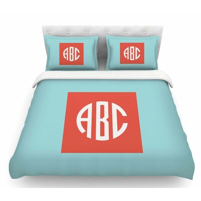 Classic Monogram  Featherweight Duvet Cover Color: Teal, Size: King