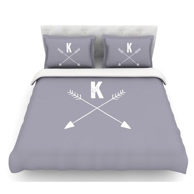 Arrow Monogram  Featherweight Duvet Cover Size: Twin, Color: Gray