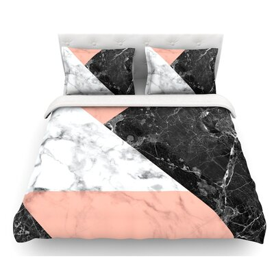 Geo Marble  Featherweight Duvet Cover Color: Coral/Black, Size: Queen