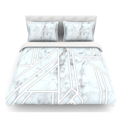 Marble Mosaic  Geometric Digital Featherweight Duvet Cover Size: Twin