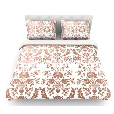 Baroque  Abstract Floral Featherweight Duvet Cover Color: Rose/Gold, Size: Queen