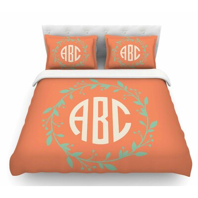 Classic Wreath Monogram  Featherweight Duvet Cover Color: Orange/Green, Size: Twin