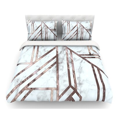 Dark Marble Mosaic  Digital Geometric Featherweight Duvet Cover Size: King