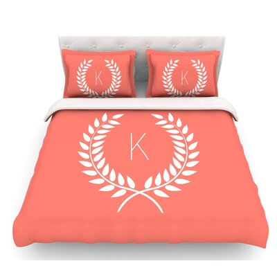 Wreath Monogram  Featherweight Duvet Cover Size: King