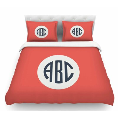 Classic Monogram  Featherweight Duvet Cover Color: Red, Size: King