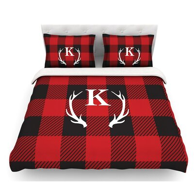 Plaid Monogram  Featherweight Duvet Cover Size: Queen