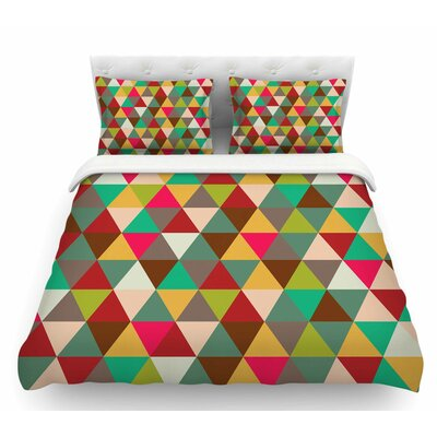 Autumn Triangle Spectrum  Geometric Featherweight Duvet Cover Size: Queen