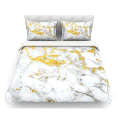 Flake  Marble Metal Featherweight Duvet Cover Size: Queen