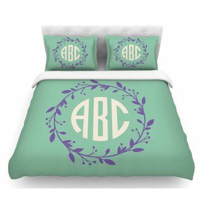 Classic Wreath Monogram  Featherweight Duvet Cover Size: Queen, Color: Green/Lavender