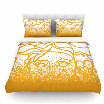 Versus Spray by Just L Featherweight Duvet Cover Color: Gold/White, Size: Queen