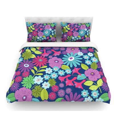 Lula by Jacqueline Milton Featherweight Duvet Cover Size: Queen, Color: Aqua/Purple/Blue