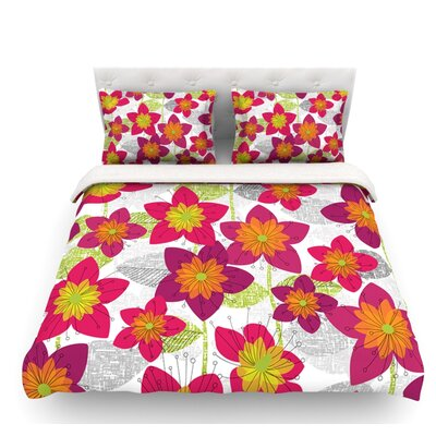 Star Flower by Jacqueline Milton Floral Featherweight Duvet Cover Size: Twin