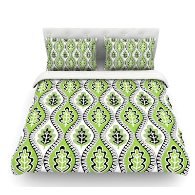 Oak Leaf by Jacqueline Milton Floral Featherweight Duvet Cover Color: Lime/Green, Size: Queen
