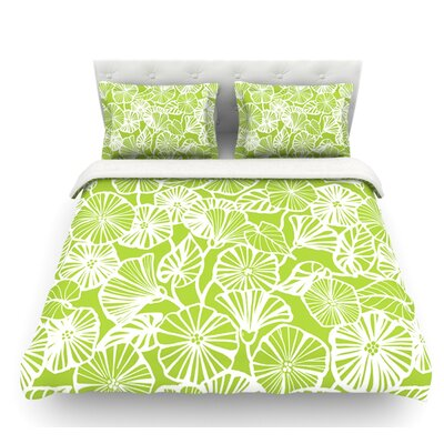 Vine Shadow by Jacqueline Milton Floral Featherweight Duvet Cover Color: Lime/Green, Size: Queen