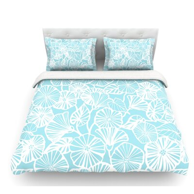 Vine Shadow by Jacqueline Milton Floral Featherweight Duvet Cover Color: Aqua/Blue, Size: Queen