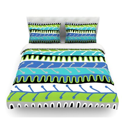 Salsa by Jacqueline Milton Featherweight Duvet Cover Color: Blue/Aqua/Green, Size: Queen