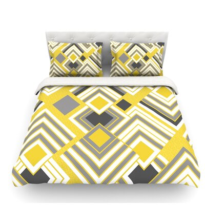 Luca by Jacqueline Milton Featherweight Duvet Cover Color: Gold/Yellow/Gray, Size: King
