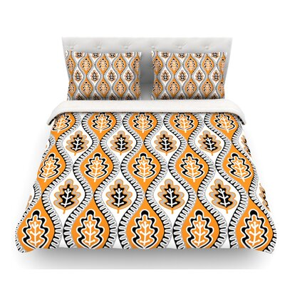Oak Leaf by Jacqueline Milton Floral Featherweight Duvet Cover Color: Orange, Size: King