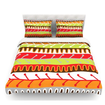 Salsa by Jacqueline Milton Featherweight Duvet Cover Color: Orange/Yellow/Red, Size: King