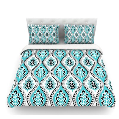 Oak Leaf by Jacqueline Milton Floral Featherweight Duvet Cover Color: Turquoise/Blue, Size: Queen