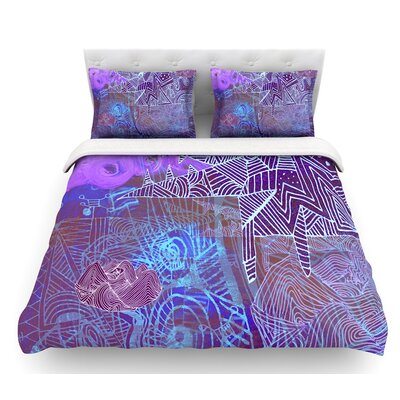 Abstract with Wolf by Marianna Tankelevich Illustration Featherweight Duvet Cover Size: King