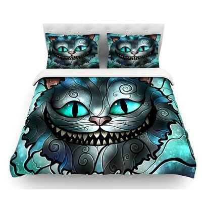 Mad Chesire by Mandie Manzano Cat Featherweight Duvet Cover Size: King, Fabric: Lightweight Polyester