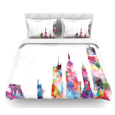 New York by Mareike Boehmer City Featherweight Duvet Cover Size: Queen, Fabric: Lightweight Polyester