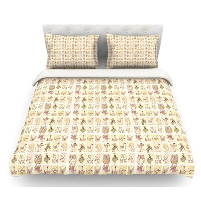 Cute Birds by Marianna Tankelevich Featherweight Duvet Cover Size: King, Color: Tan
