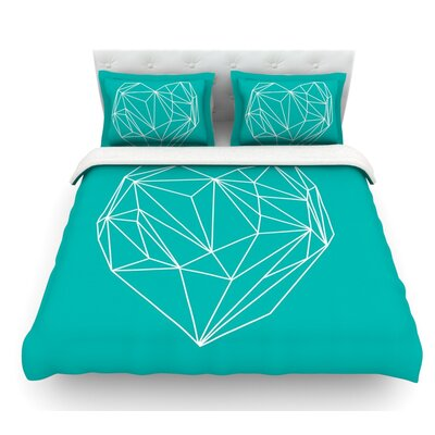 Heart Graphic by Mareike Boehmer Abstract Featherweight Duvet Cover Size: Twin, Fabric: Woven Polyester